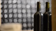 Bottle of red wine in an aging cellar.Close-up video