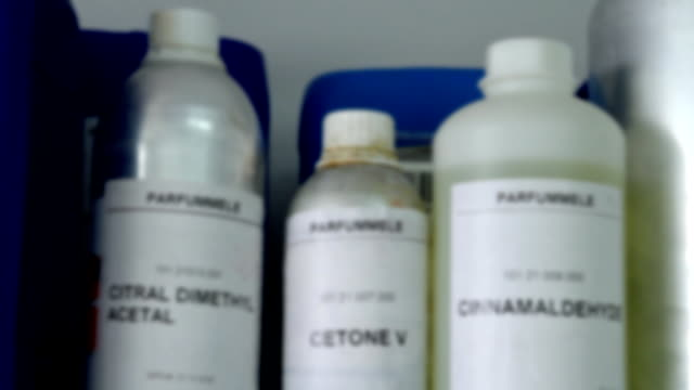 Bottles and containers of chemicals video