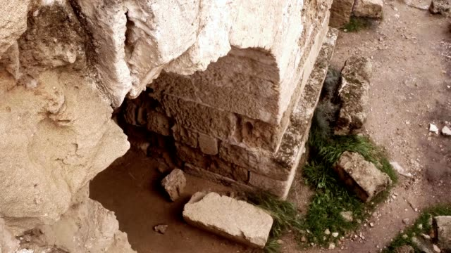 Bottom view arch in destroyed corridors ruins antique town Salamis east Cyprus Famagusta video