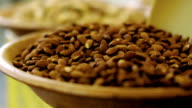 CU of bowl of Almonds for sale on farmer's market. video