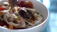 Bowl of noodles. video