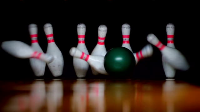 HD - Bowling. Strike. Slow-mo video