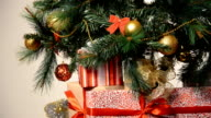 Box with ribbon under cute christmas fir tree video