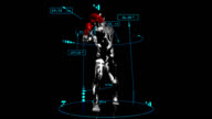 3D boxer man with technical data video