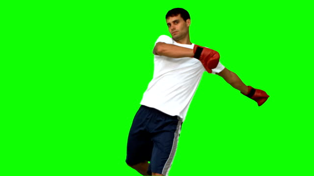 Boxer performing an air kick on green screen video