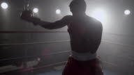 Boxer training in boxing ring video