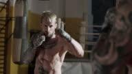 Boxer training. Shadowboxing. video