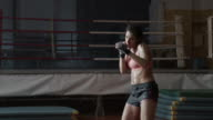 Boxer woman training. Shadowboxing. video