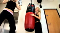 Boxing at the gym with 2 blonde girls video
