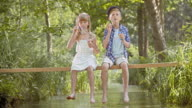 DS Boy and girl blowing bubbles while sitting on footbridge video