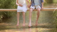 SLO MO Boy and girl splashing water with feet video