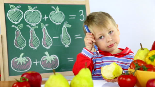 boy and fruit math video