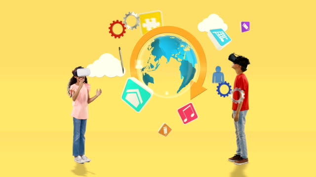 Boy and girl using virtual reality headset with digitally generated travel icons 4k video