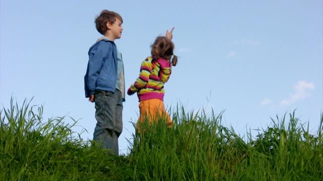 Boy and little girl talking in meadow against sky video