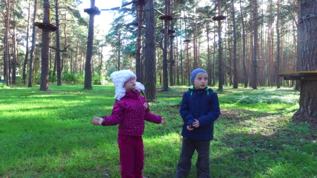 Boy child blond  and  girl child  in glasses walking on green grass. Children learn a large climbing frame. video