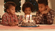 Boy count candles on the cake. video