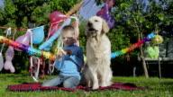 Boy, dog and banana video