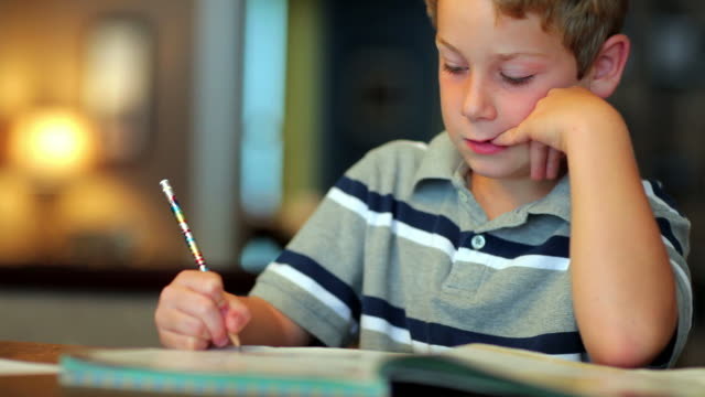 Boy Doing Homework video