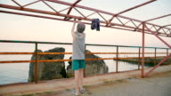 boy doing phisical exercise video
