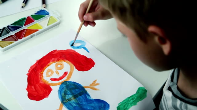Boy Draws Paints on White Paper video