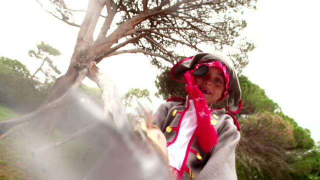Boy dressed up as pirate excited with toothy smile video