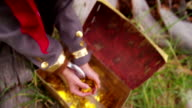 Boy dressing up pirate holding gold coins from treasure chest video