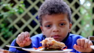 Boy eat and dreams. Funny child. video