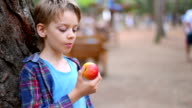 boy eating an apple, close up video