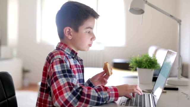 Boy eating and working on a lap top video