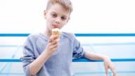 boy eating ice cream cone video