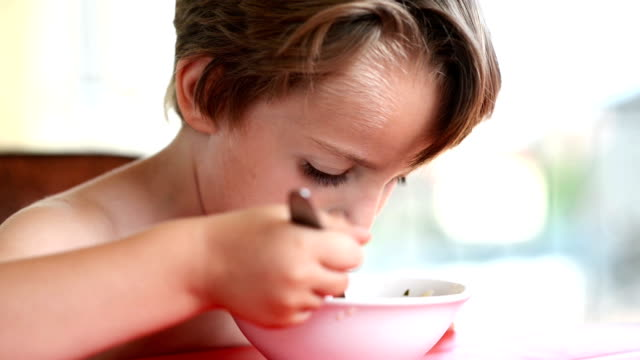 Boy Eating Soup video