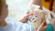 Boy examines and counts the euro banknotes video