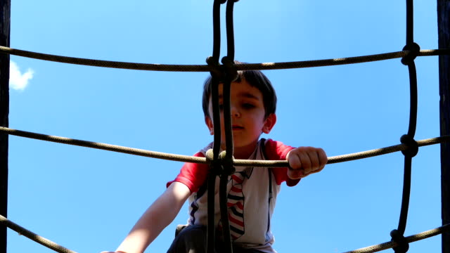 A boy is climbing on rope in playground. Recreation outdoors for kids video