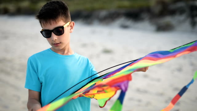 Boy is preparing a dragon for flying on the beach video