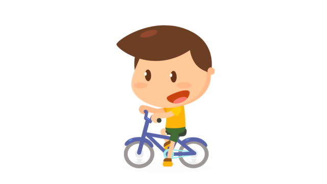 Boy is riding bicycle. video