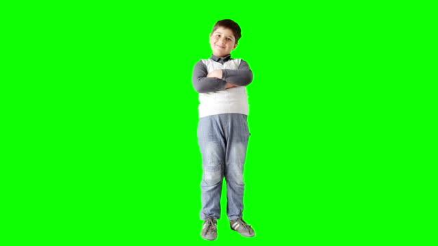 Boy model in vest posing video