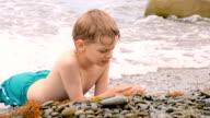 Boy on the sea shore video
