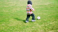 Boy plaing with soccer ball video