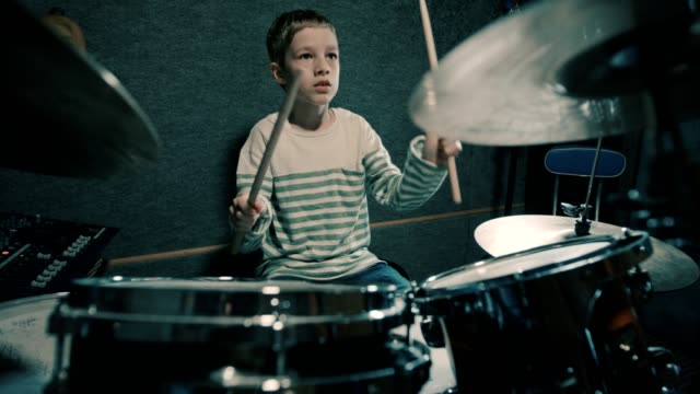 Boy playing drums video