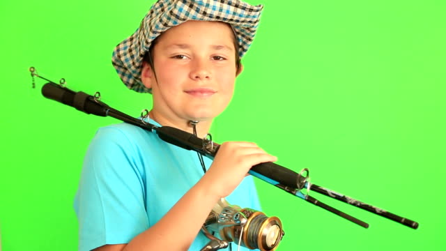 Boy posing with his fishing rod video