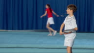 MS Boy Practicing The Tennis Shots video