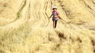 boy running in a yellow field, Boy run the mown field, boy runs in the straw video