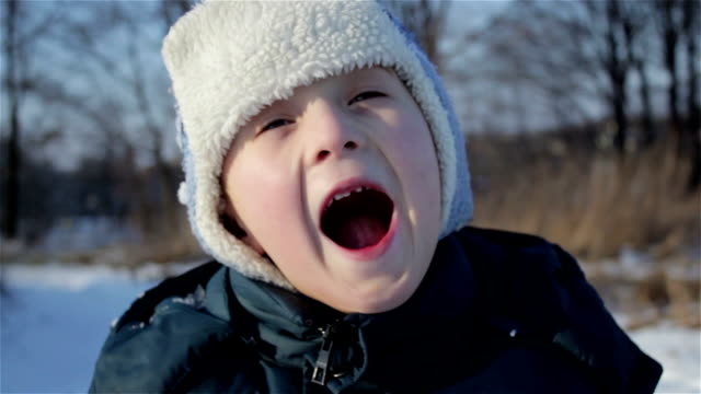Boy screaming in winter video