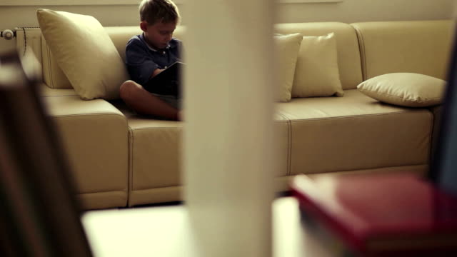 Boy sits on the sofa at home and reads some magical book with interest video
