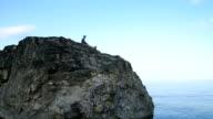 boy sitting on a rock on the seashore video
