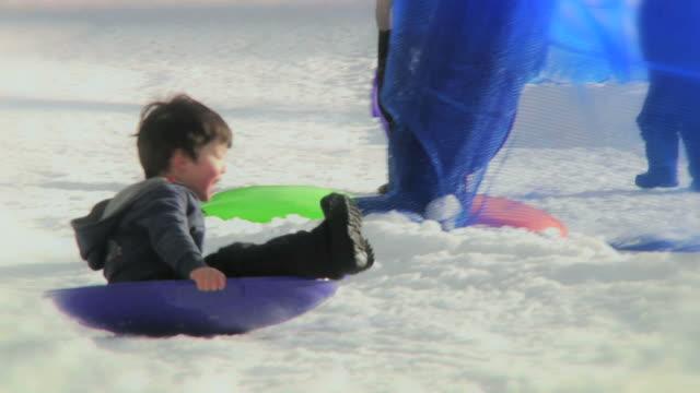Boy Sledding (HD) video