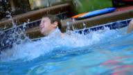 Boy Splashing in Swimming Pool video