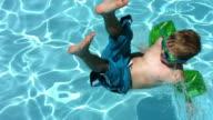 Boy splashing into pool, slow motion video