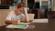 Boy Studying his Homework video