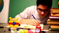 Boy studying video